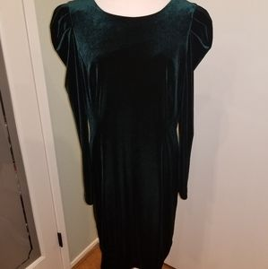Vince Camuto Emerald Velvet Longsleeve Dress